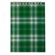 Блокнот А6 48л. на пружине  сверхуклетка, карт.обложка, зеленый