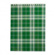 Блокнот А5 48л на пружине сверху  клетка, карт.обложка, зеленый
