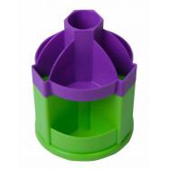Подставка-вертушка канцелярськая FRESH, 10  отделений, фиолетово-салатовая