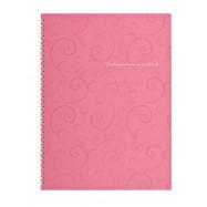 Блокнот А4, 80 л.,пластиковая обл. пружина бок., Barocco, розовый