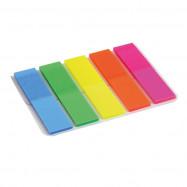 Закладка неоновая 5 цветов 12х50мм, 125 шт, прямоугольная