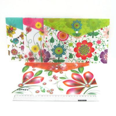 "IMG_4179 Папка - конверт с кнопкой ""Flowers"" 18S A4, mix"