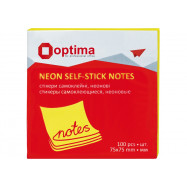 Блок для заметок с клейким слоем 75х75 мм Optima, 100л, неон желтый