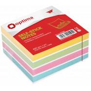 Блок для заметок с клейким слоем 75х75 мм Optima, 400 л, пастель микс