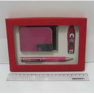 """SDC11069 Набор подарочный """"Magenta"""" ручка+визит+маник. щипцы малиновые"""