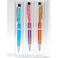 "4414_2 Ручка метал ""Swarovski"" + футляр, темно-розовый, голубой, бронзовый корпус, mix"