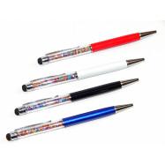 "10906_1 Ручка метал со стилусом ""Swarovski"" корпус черн., син., бел., крас., mix"