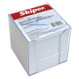 Блок паперу для нотаток 90х90 900 арк.,білий в прозор пеналі Skiper