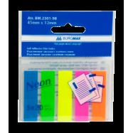 Закладки пласт. с липким слоем NEON 45x12мм, 5х20л., JOBMAX, ассорти BM2301-98
