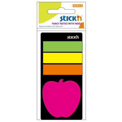 """Набір індексів плівк. 45*12мм 3*25арк. неон асорті+блок клейк. """"яблуко"""" 44*44мм, 20арк., 21475"""