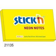 Блок паперу клейк. 76*127мм 100арк. кол. неон жовт. арт. 21135 HOPAX