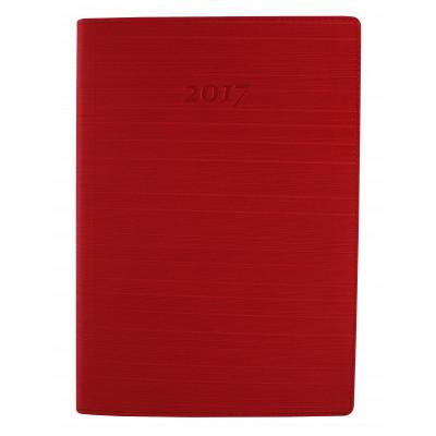 Ежедневник датированный 2017, Optima, STRIPE, красный, А5