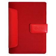 Бизнес-организатор из вставками шт. кожи, 135 *185 мм, на кольцах, красный, 80 г/м2, кремовый