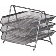 Лоток для бумаги  гор. 3 в 1 гориз.,350*295*270 мм, метал,срібло