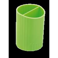 Подставка для ручек пластик ZiBi круглая на 2 отд.салатовая