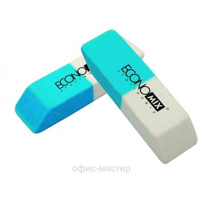 Ластик Economix  для удаления карандаша и чернил, бело-синий (42 шт/уп)