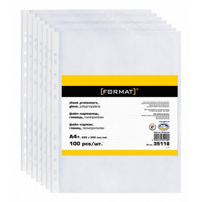 Файл А4+, 30мкн.(100шт)  глянец Format