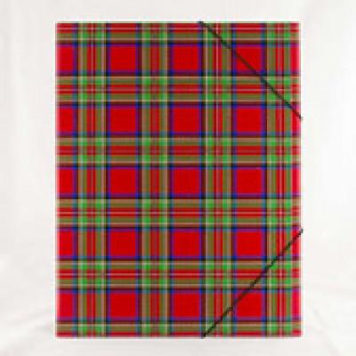 Папка А4 УФ лак  350 гр/м2  шотландка червона гумка  ф1, 5 мм три клапани картон