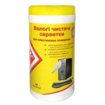 Серветки чистячі вологі для пласт.пов. (100шт у тубі) KL1010