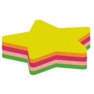 """Блок для нотаток з клейким шаром """"Зірка"""" 45х50 мм Economix, 80 арк., неон мікс"""