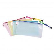Папка-конверт на молнии прозрачная, ассорти