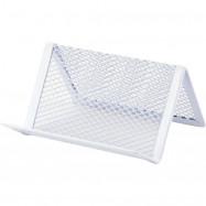 Подставка для визиток 95x80x60мм, металл, белая