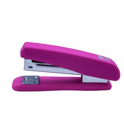 Степлер пластиковый RUBBER TOUCH до 20 л, (скобы №24, 26), розовый