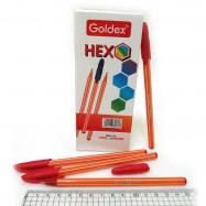 1101-RD Ручка масляная красная  Goldex HEXO Индия Red 0,6мм