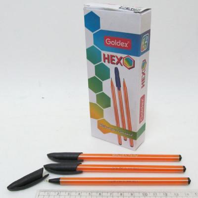 """Ручка масл. черная Goldex """"HEXO #1101 Индия Black 0,6мм"""