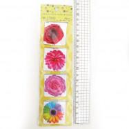 """23980-2 Закладка-магнит """"Цветы"""" 4шт., 4*8см"""